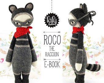 ROCO the raccoon • lalylala crochet pattern / amigurumi