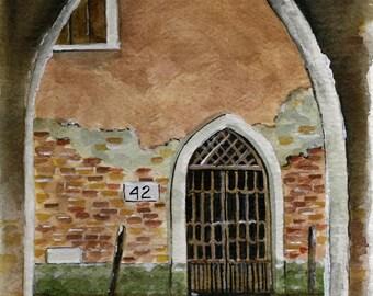 Venice Door No. 42 painting  watercolor fine art print