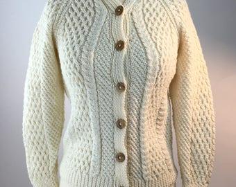 Wool Irish Fisherman's Cable Knit Cardigan Ladies Size X-Small