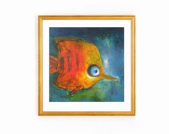 Turquoise and orange art print, Gold fish in teal blue green ocean water, Children's rood decor, whimsy kids art, small gold fish kids room