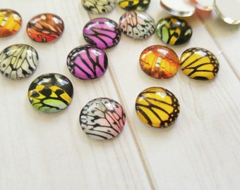 12mm Cabochons Glass Cabochons Flat Backs Round Flatbacks Butterfly Cabochons Butterfly Wings 12mm Glass Flat Back Assorted Cabochons