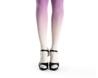 Ombre tights for women, ivory - purple