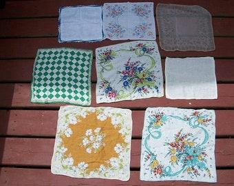 Vintage Set of 8 Hankies Handkerchieves Mid Century