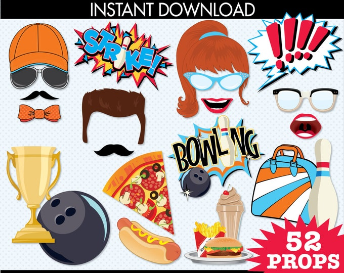 Bowling Photo Booth Props, Bowling Party, Bowling Birthday - Orange & Blue -  Instant Download PDF - 52 DIY Printable Props