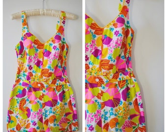SALE Vintage 1960s Playsuit / 60s Colorful Floral Beach Romper / Small to Medium