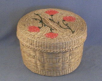 Wonderful Hand Woven Covered Basket // Decorated // Painted Flowers // Gift Container // Jewelry Stash // Treasure Keeper // Dresser Item