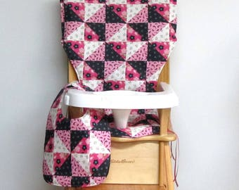 custom eddie bauer wooden high chair pad, patchwork pink with matching bib, replacement cover, kids feeding chair pad, baby furniture, decor
