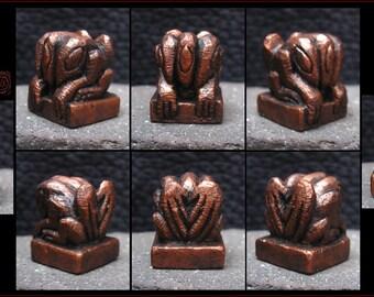 Metallic Copper Hydra Figure - Strange Creature Idol - Hand Carved miniature Cast in Resin