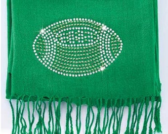 Football Bling Pashmina Scarf ..green
