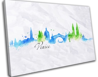 Watercolour Venice Skyline Cityscape Canvas Print Home Decor- Abstract Wall Art - Modern Prints - Ready To Hang