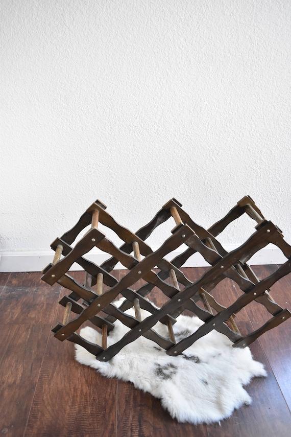 folding vintage accordion wood wine bottle rack / mid century wooden wine holder rack