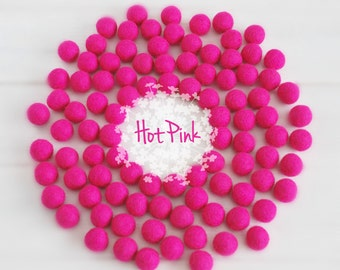 Wool Felt Balls - Size, Approx. 2CM - (18 - 20mm) - 25 Felt Balls Pack  - Color Hot Pink-4040 - 2CM Wool Balls - Poms - Hot Pink Felt Balls