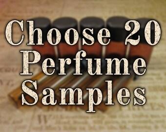 Sample Perfume Oil, Sample Cologne Oil, Artisan Fragrance, Choose 20 (Twenty) Perfume Samples, Natural Perfume, Ships Out in 5-8 Days