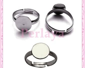 Set of 20 silver dark rings 10mm REF987