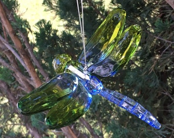 Crystal Dragonfly Mobile Piece--Hanging Blue & Green Dragonfly Ornament--Fun Gift Box Decoration