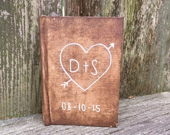 Personalized Initial Vow Book/ Rustic Vow Book/ Wedding Keepsake