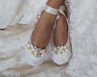 Princess Bridal Ballerina Slippers In Champagne ~Princess Wedding Ballet  Flat Shoes ~Lace Bridal Ballet Shoe~ Elegant Lace Dance Slipper