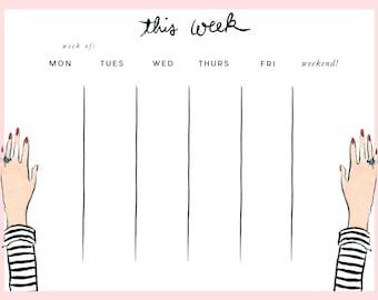Week at a Glance Pad: Striped Tee