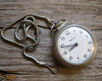 ca. 1970 westclox BULLSEYE POCKET WATCH with chain. Runs and keeps time!