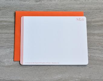 Personalized Christian Stationery Set | Flat Note Cards |  Scripture Stationery | Writing Set | Orange Stripe Monogram | Set of 12+Envelopes