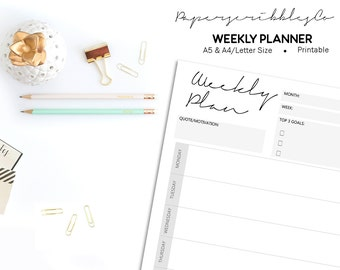 Weekly Planner Printable, Weekly Planner Kit, Weekly Agenda, Planner Insert, Productivity Planner, Weekly Calendar, Printable Inserts