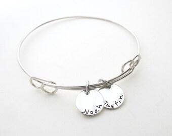 Personalized Bracelet - Mothers Bracelet - Name Bracelet - Custom Bangle - Sterling Silver - Grandma Bracelet - Childs Names