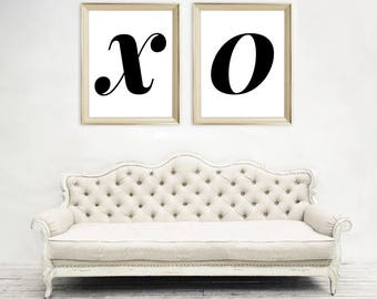 X O Two Panel Art Print - Black