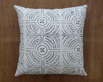 """African Mudcloth Pillow Cover, Double Sided Ivory Mudcloth Pillow Cover for 22"""" x 22"""" Pillow Inserts"""