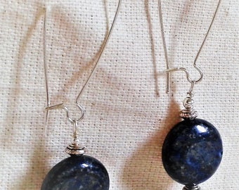 Long earrings in Lapis Lazuli