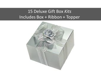 Silver Gift Box KITS - Gift Box with Ribbon, Floral Topper - Silver Favor Box Kits 6 x 6 Inch - Stemless Wine Glass Gift Box Favor Boxes