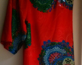 Vintage Boho Style Red One Shoulder  Blouse/Tunic