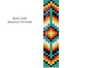 Tribal Square Stitch Bracelet Pattern or Bead Loom Bracelet Pattern - TribalSquare1