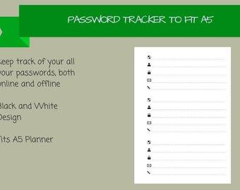 Password Tracker, Password Log, Password Organizer, Password Keeper, Password Book, Password Insert, A5, {Digital Download}