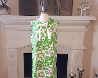 Sears, Roebuck and Co. ~ Vintage White and Green Floral Dress