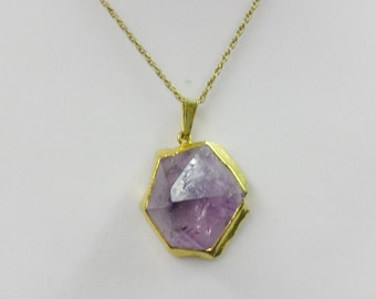Vintage Amethyst Crystal Pendant on Chain