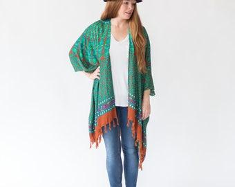 Jade Kimono | Womens One Size Plus, Bohemian Mandala Sarong, Turquoise, Comfy Robe, Stylish, Lightweight, Spring, Fall, Summer Beach Wear