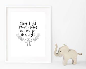 Sweet Dreams Typography Nursery Poem Wall Art Silver Foil Print, Baby Child's Bedroom Nursery Quote Illustration Decor, Baby Shower, Newborn