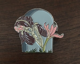Iris on a Headstone Enamel Pin