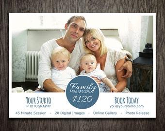 Photography Marketing Template - Photoshop Template for Photographers - Photography Template Family - Flyer Postcard Newsletter MT014