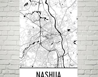 Nashua new map art Etsy