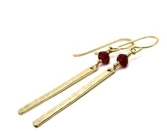 Red garnet dangle earrings, January birthstone, garnet jewelry, hammered gold earring, gold filled bar earring, dark red garnet earrings