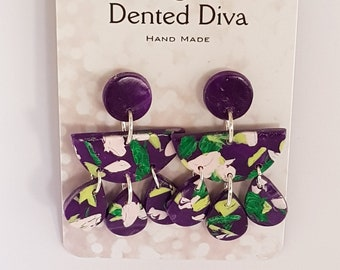 Dented Diva.Clay earrings. Dark purple, lime green and pink. Hand Made.