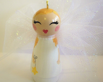 Hand Painted Love Boxes Christmas Angel Birthday Fairy White Wood Peg Doll Ornament