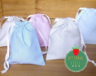 Drawstring Pouch  Drawstring Bag Favour bags 100% cotton Stripes Gift bags Bags Drawstring Bag Storage Bags