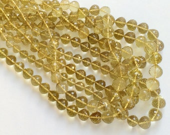 Lemon Quartz Beads, Lemon Quartz Micro Faceted Onion Beads, Lemon Quartz Straight Drill, 6-13mm, 16 Inch Strand