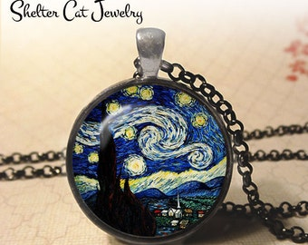 "Starry Night Necklace - Vincent Van Gogh - 1-1/4"" Circle Pendant or Key Ring - Handmade Wearable Photo Art Jewelry - Famous Painting Gift"