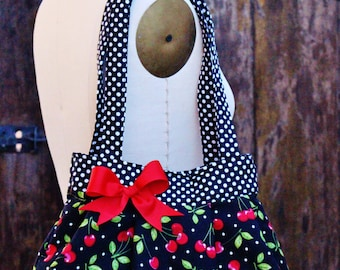 Cherry Purse, Cherry Handbag, Cherry Polka Dot Purse, Rockabilly Purse