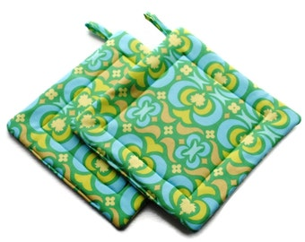 Handmade Pot Holders Set of 2 Amy Butler blue green Potholders