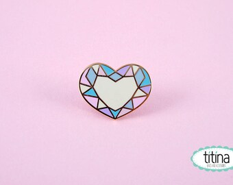 pastels colors diamond heart hard enamel pin