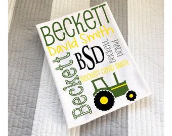 Tractor Blanket - Green Tractor Blanket - Baby Boy Gift - Personalized Baby Boy Blanket - Monogram Baby Blanket - Swaddle Receiving Blanket
